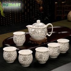 Bộ tách trà sứ sang trọng HOMART (Trắng vân hoa )