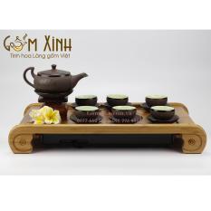 Bộ trà gốm Bát Tràng – Bộ trà tử sa trăng xanh dáng dẹt (Hàng xuất Nhật)