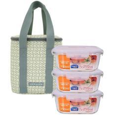 Bộ túi hộp cơm thủy tinh L&L 4EA ( LLG224*3, HPL823CI-B-0*1) – LLG224I3 – Màu ngà