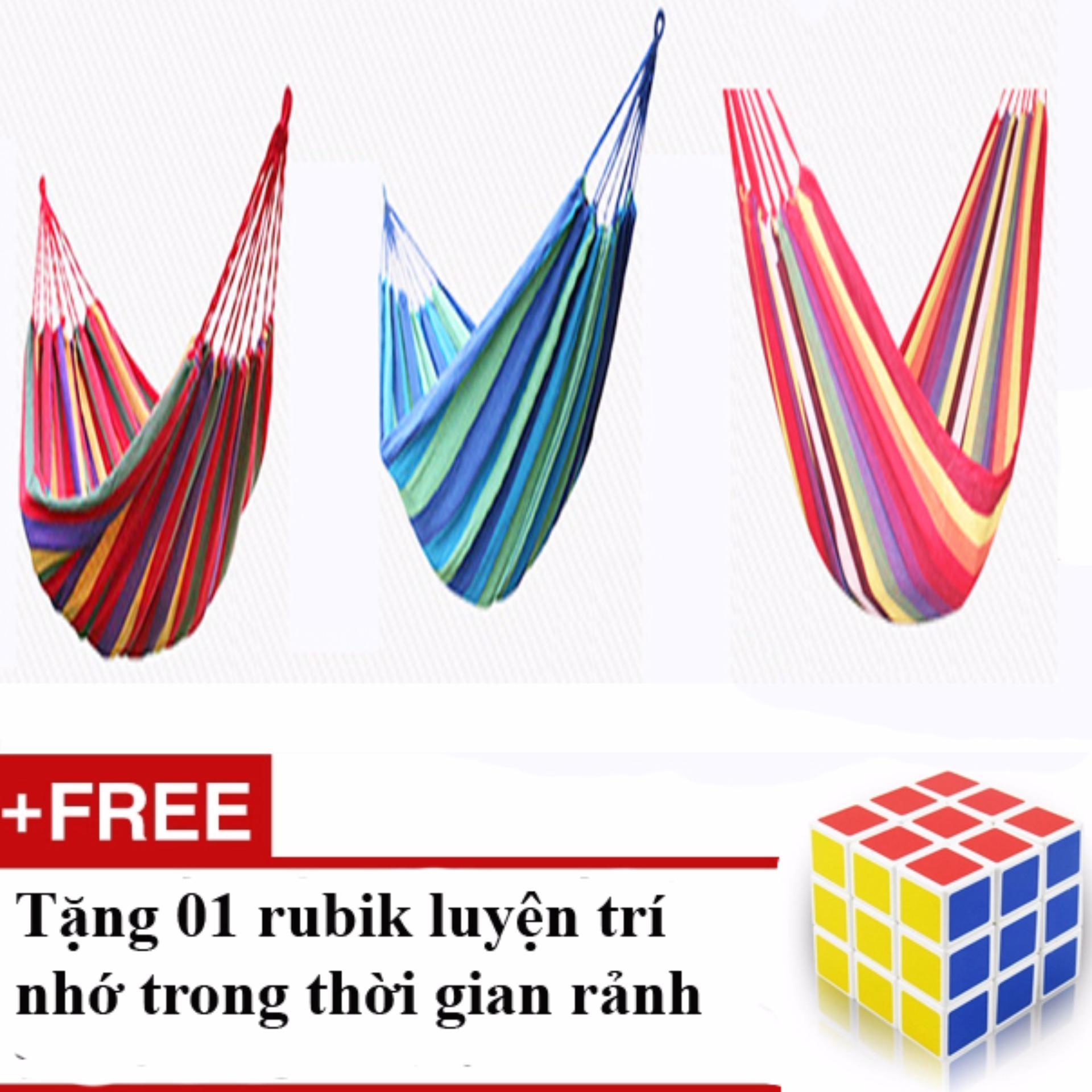 Bộ Võng du lịch sợi đan cao cấp YY016 (280x150cm)+ Tặng 01 Rubik trơn, nhạy