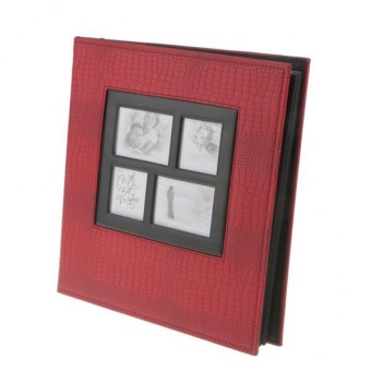 BolehDeals Photo Album 400 Photos 6inch Sewn Leatherette CoverFamily Memories Red - intl