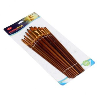 BolehDeals Set of 12 Pcs Nylon Hair Artist Paint Brush Flat PointedTip Wooden Handle - intl