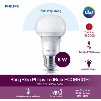 Bóng đèn Philips Ecobright LEDBulb 8W 6500K đuôi E27 A60 - Ánh sáng trắng