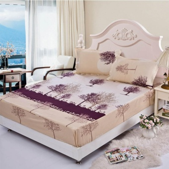 Brand High Quality Home Fitted Sheet Elastic Bed Sheet 3 Size 3PCS1*Fitted Sheet+2*pillowcase - intl