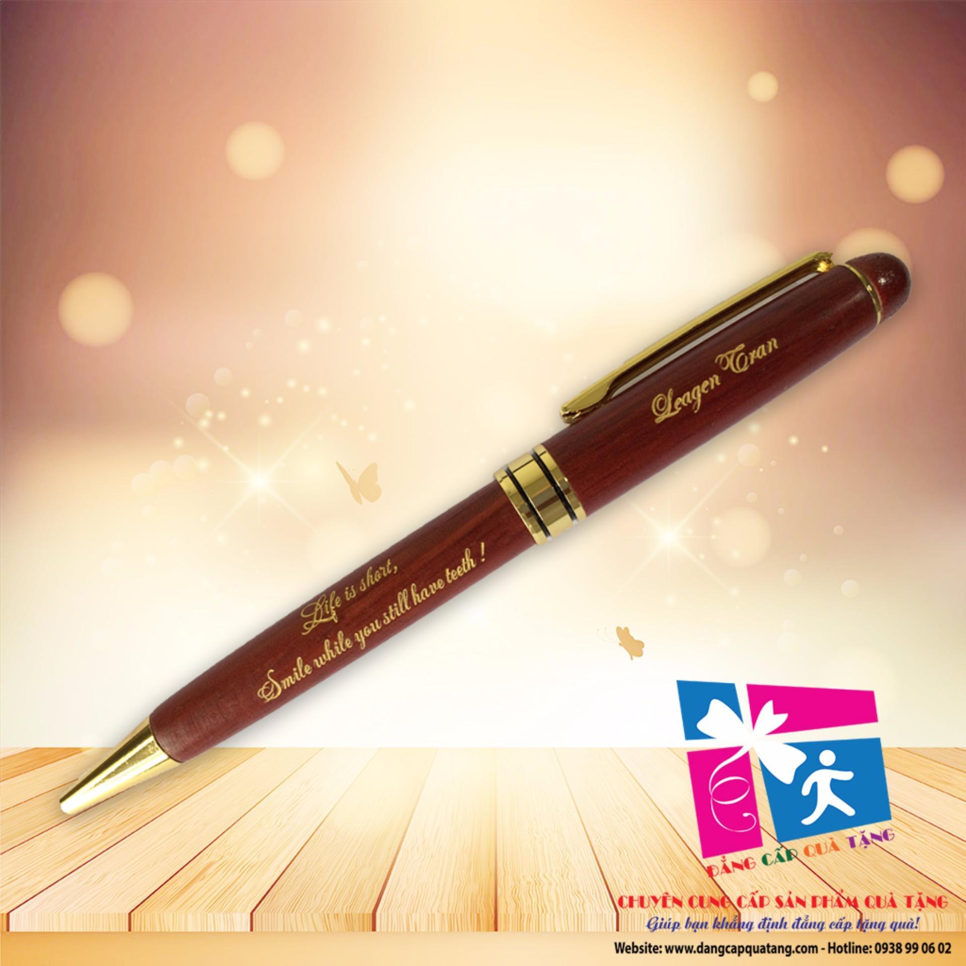Bút gỗ nâu nắp xoay khắc tên – BG05