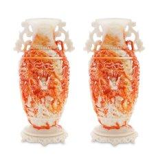 Cặp Bình hoa cửu long màu cẩm đỏ