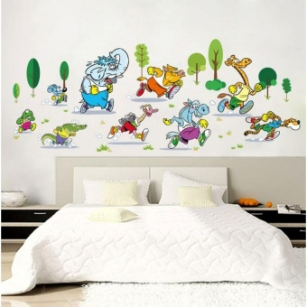 Cartoon marathon animals wall stickers Removable waterproof wallstickers - intl
