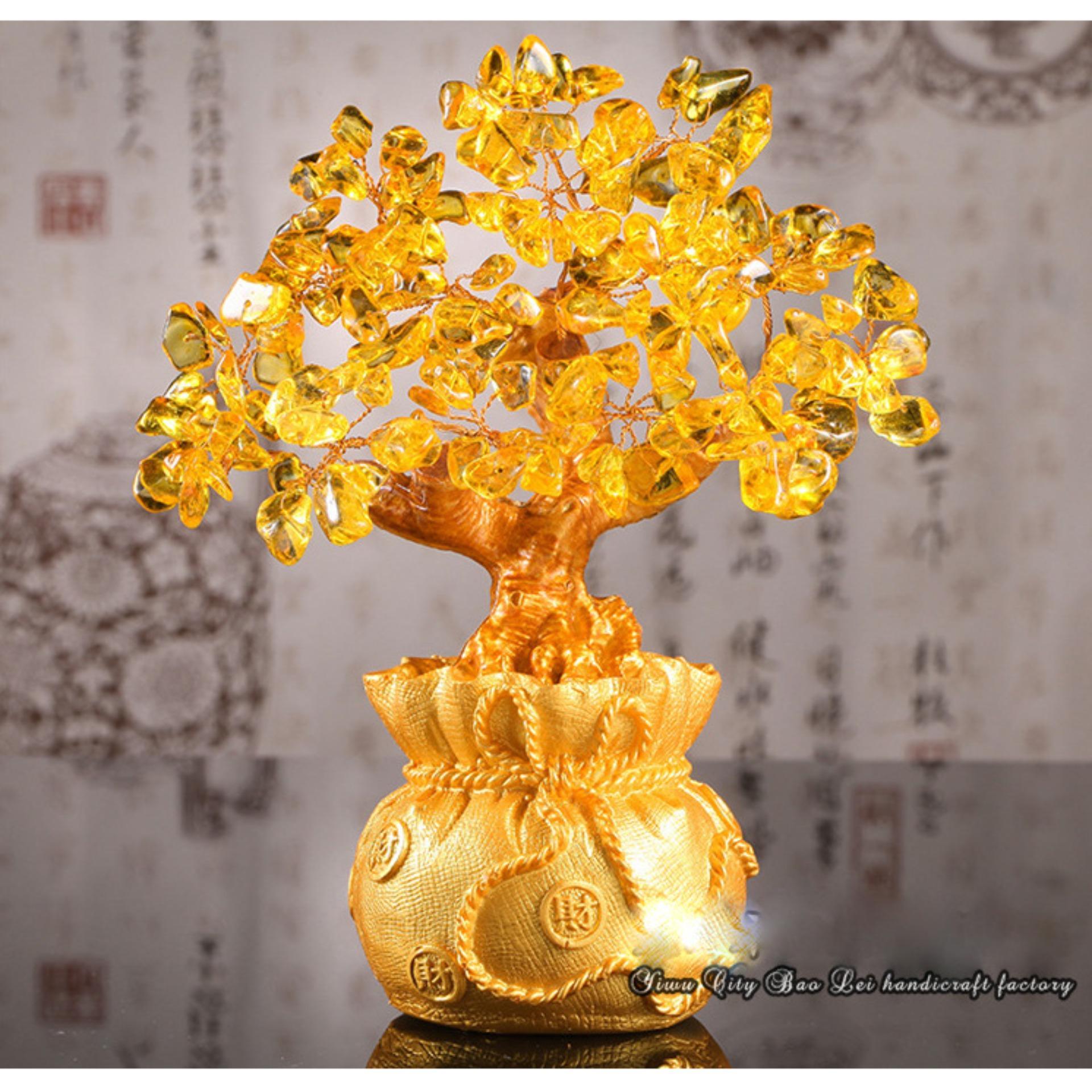 Cây Phong Thủy Tài Lộc Đá Thạch Anh Vàng 18.5cm