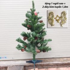 So Sánh Giá Cây thông lá xanh gắn trái thông cao 1,2m trang trí giáng sinh ( tặng sao và dây kim tuyến)  M&N Toys