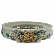 Chân bát hương sứ Bát Tràng – men rạn cổ – đắp nổi rồng – đường kính 18cm
