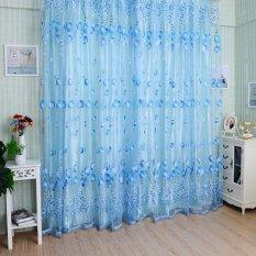 Chic Room Tulip Flower Sheer Curtain Blue (Intl)