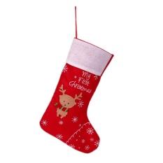 Giáng sinh Vớ Nai Sừng Tấm Tất Ông Già Noel Kẹo Quà Tặng Treo Túi Mút Trang Trí (Đỏ)-quốc tế