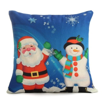 Christmas Xmas Santa Reindeer Fashion Linen Cushion Pillow Case Cover Home Decor - intl