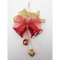 Giá Khuyến Mại Chùm chuông đôi có nơ đường kính 6cm – Đồ trang trí cây thông Giáng Sinh