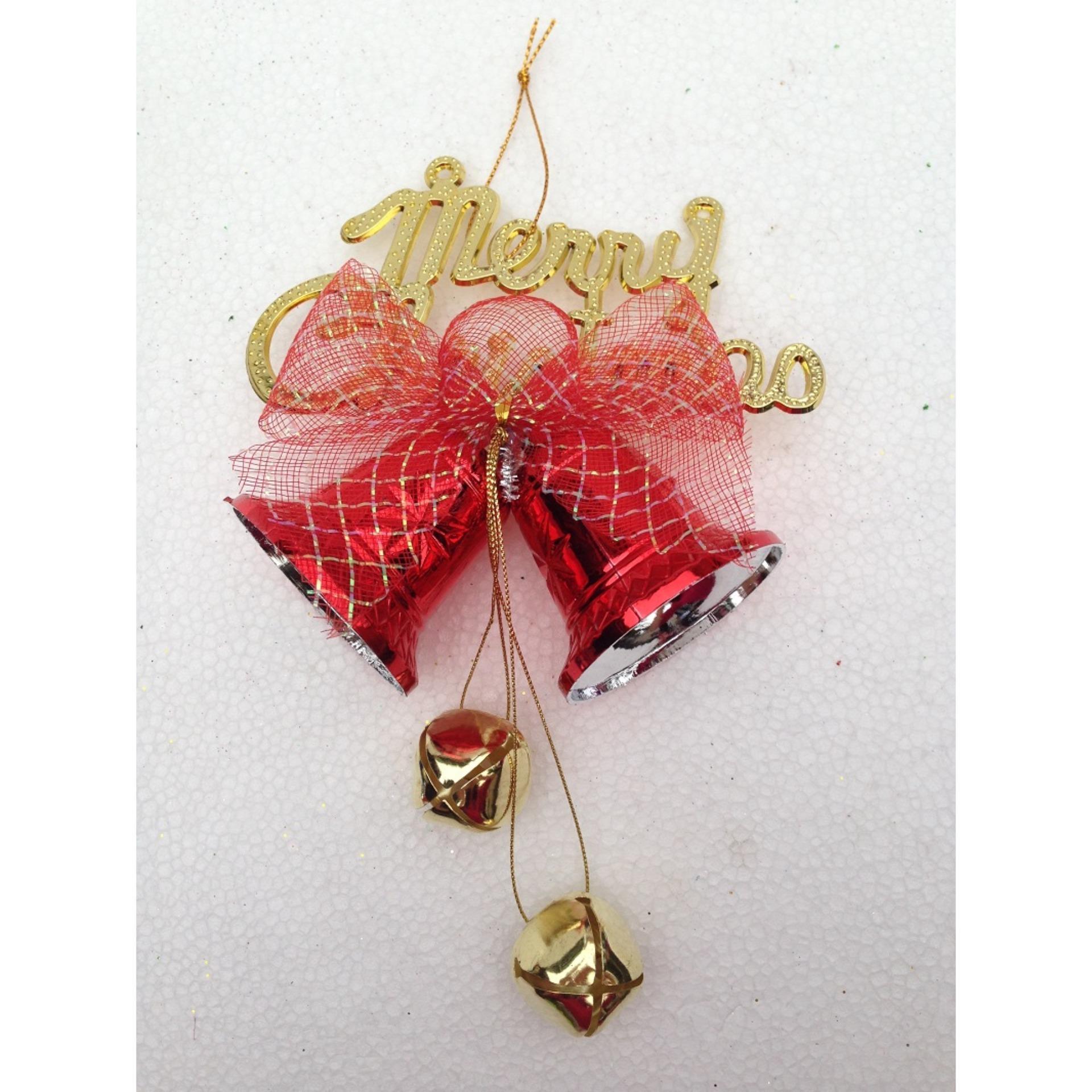 Giá Sốc Chùm chuông đôi có nơ đường kính 6cm – Đồ trang trí cây thông Giáng Sinh