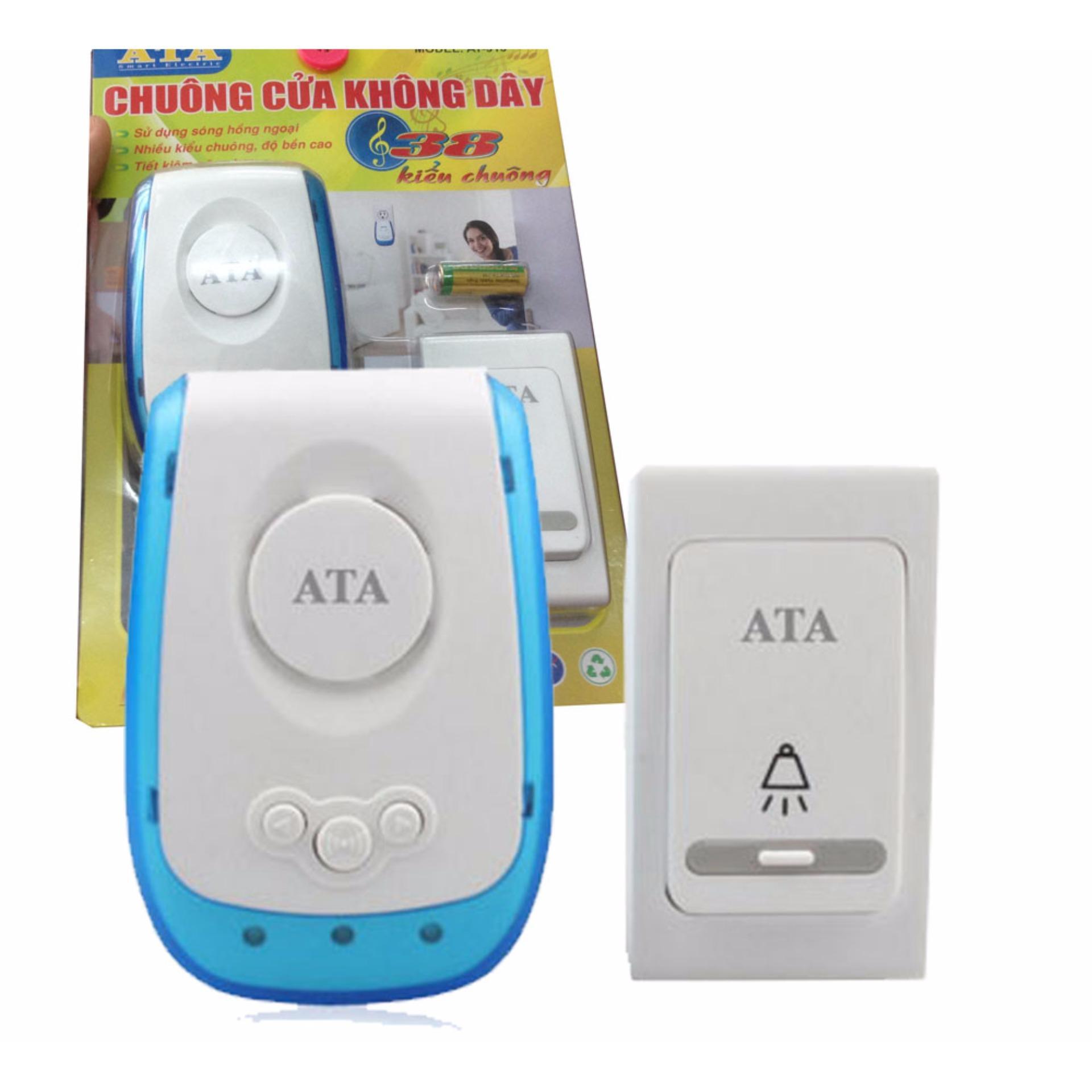 Chi tiết sản phẩm Chuông cửa không dây cao cấp ATA AT-913 chống nước, xuyên vật cản 20-60m, chuông 40-70dB (Màu trắng)