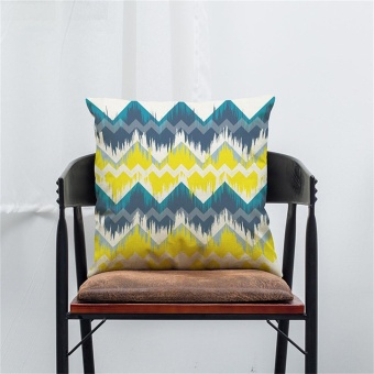 Color Geometric Lines Cotton Linen Throw Pillow Case Cushion Cover Home Decor I - intl