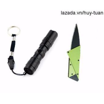 Combo 1 đèn pin siêu sáng mini + 1 dao cán thép ATM ( Xanh lá )