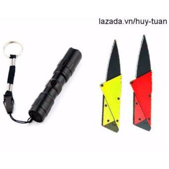 Combo 1 đèn pin siêu sáng mini + 2 dao cán thép ATM ( Hồng + Vàng )