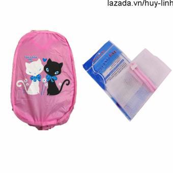 Combo 1 túi giặt vuông + 1 túi lưới bung đựng đồ (Hồng)