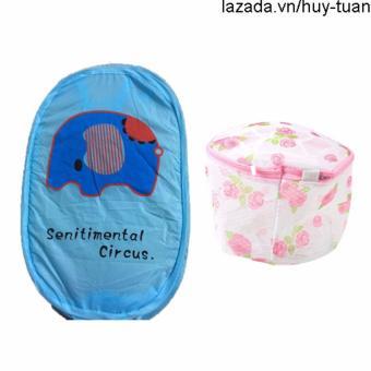 Combo 1 túi lưới bung đựng quần áo ( Xanh dương ) + 1 túi giặt đồ lót hình tròn