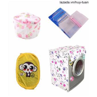 Combo 1 vỏ bọc máy giặt cửa ngang cỡ nhỏ ( màu ngẫu nhiên ) + 1 túi giặt vuông + 1 túi giặt tròn + 1 túi lưới bung ( Vàng )