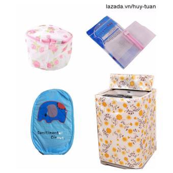 Combo 1 vỏ bọc máy giặt cửa trên cỡ to ( màu ngẫu nhiên ) + 1 túi giặt vuông + 1 túi giặt tròn + 1 túi lưới bung ( Xanh dương )