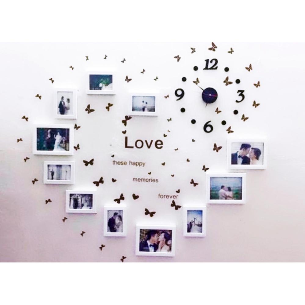 Vì sao mua Combo 11 khung hình Diachire treo tường phòng cưới + TẶNG Đồng hồ DIY và Decal LOVE (Trắng)