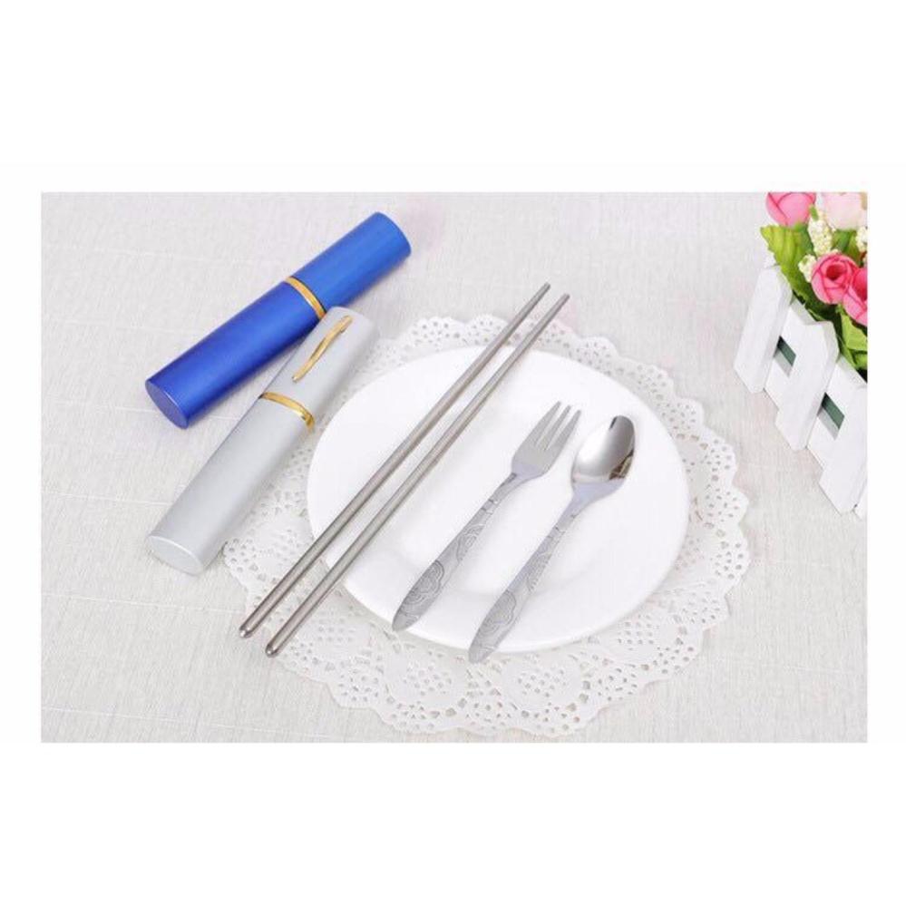 Combo 2 bộ 3 dụng cụ ăn Đũa Thìa Dĩa cao cấp, kèm hộp nhỏ gọn dễ mang theo