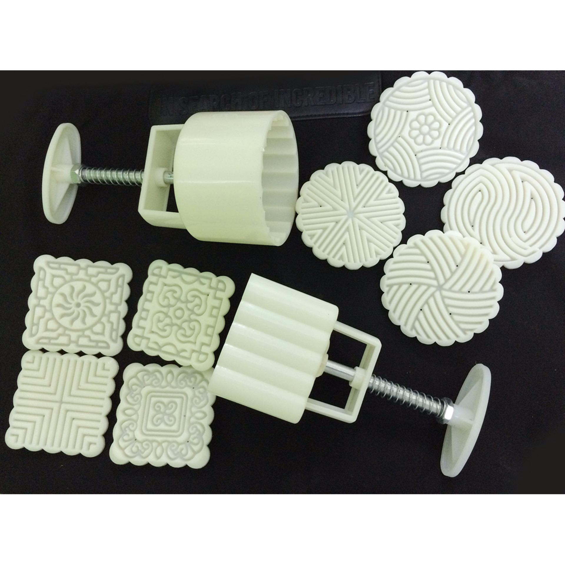 Combo 2 bộ khuôn bánh trung thu lò xo 8 mẫu tròn và vuông (125gr)