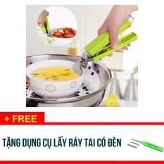 COMBO 2 Dụng cụ kẹp gắp nóng bát đĩa cách nhiệt – Tặng dụng cụ lấy ráy tai có đèn – SDX247