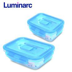 Combo 2 hộp thực phẩm thủy tinh Luminarc chữ nhật nắp cài (820ml – 1.22L)