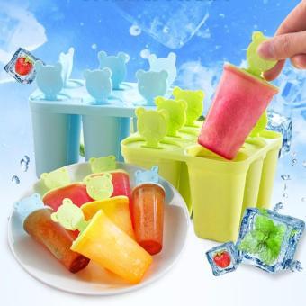Combo 2 khuôn nhựa làm kem 6 chiếc hình thú màu ngẫu nhiên