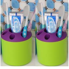 Combo 2 Ly đựng bàn chải đánh răng đa năng (xanh lá phối tím)