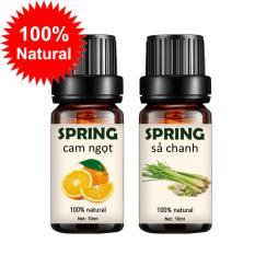 Combo 2 tinh dầu thiên nhiên cao cấp Spring cam ngọt 10ml và sả chanh 10ml