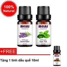 Đánh Giá Combo 2 tinh dầu thiên nhiên MELAS oải hương lavender 10ml và bạc hà 10ml + tặng 1 tinh dầu quế 10ml