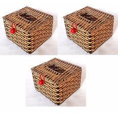 Combo 3 Hộp đựng giấy ăn giả mây vuông (12x12x8)