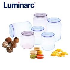 Combo bộ 6 hũ thực phẩm thủy tinh Luminarc Rondo 750ml + 500ml (Hồng-Xanh)