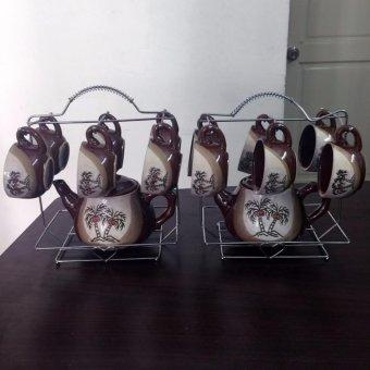 combo bộ đôi ấm trà có giá treo hình cây dừa ( nâu)