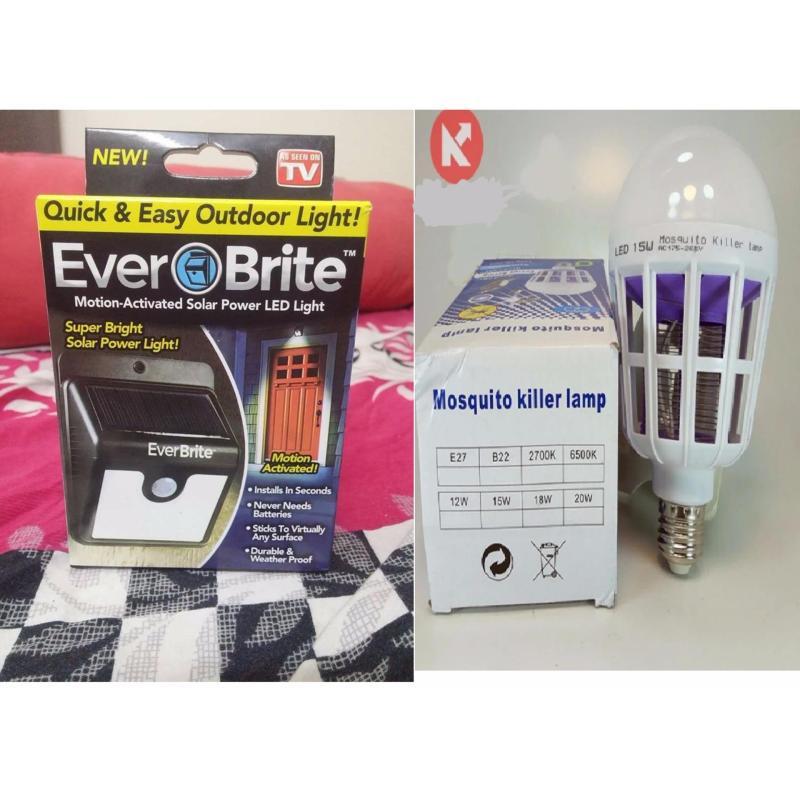 Bảng giá Mua Combo bộ sản phẩm đèn cảm biến Ever Brite pin sạc năng lượng mặt trời và bóng đèn Led bắt muỗi