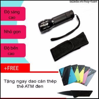 Combo đèn pin x2000 siêu sáng nhỏ gọn + free dao cán thép ATM bỏ ví( Đen )