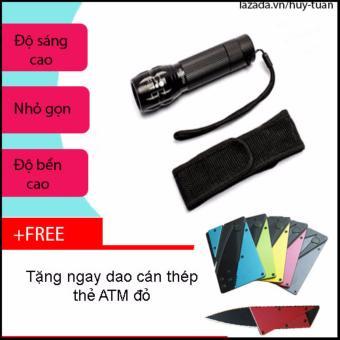 Combo đèn pin x2000 siêu sáng nhỏ gọn + free dao cán thép ATM bỏ ví( Hồng )