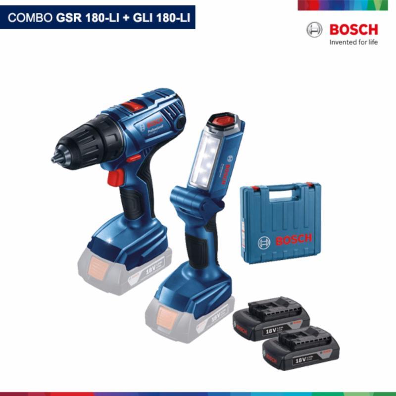 combo Máy khoan pin Bosch GSR 180-LI + đèn pin Bosch GLI 180-LI