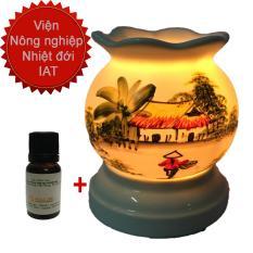 Chi tiết sản phẩm Combo Tinh dầu sả chanh đuổi muỗi 10ml và đèn xông tinh dầu điện Bát Tràng giá rẻ MNB1