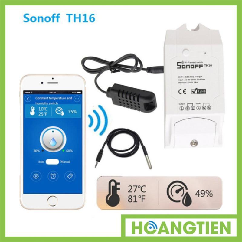 Công Tắc Điều Khiển Wifi Cảm Biến Nhiệt Độ, Độ Ẩm Sonoff HT-TH16