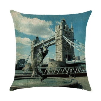 Cotton Linen Square Decor Throw Pillow Case Cushion Cover landscape D - intl