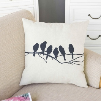 Crowed of Birds Pattern Sofa Cushion Pillowcase Cotton Linen Throw Pillow Cover Home Decor - intl