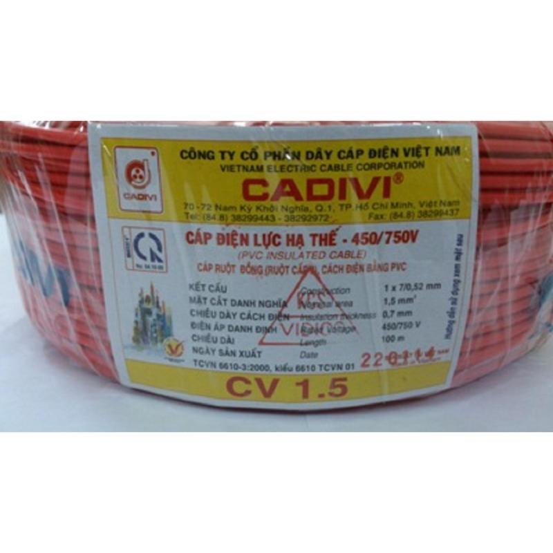 Bảng giá cuộn dây điện đơn CADIVI 1,5 MM dài 100m
