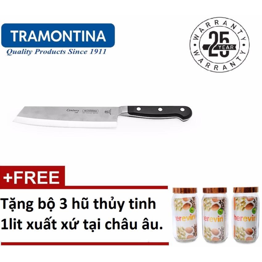 Hình ảnh Dao thái bếp Tramontina Century 24024107 30cm (Đen) + tặng bộ ba hũthủy tinh 1 lít