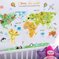 Decal dán tường bản đồ thế giới cho bé ABC1049